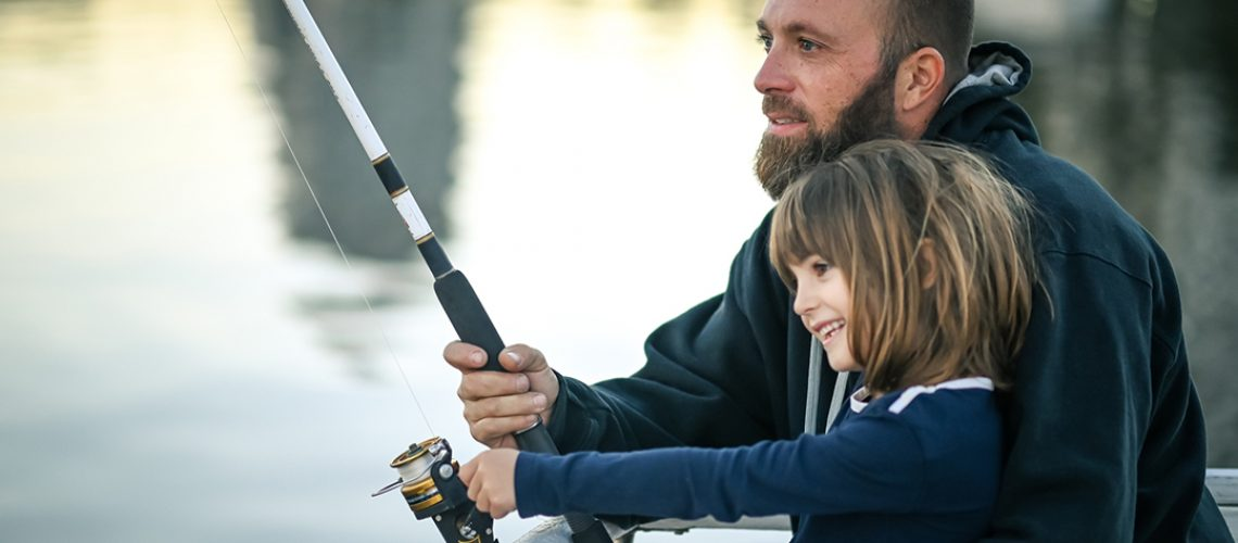Father Daughter Fishing Together